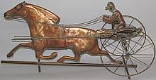 Copper race horse & sulky weathervane