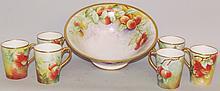 Handpainted Limoges bowl & six mugs