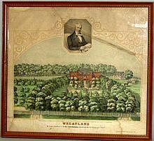 """Wheatland"" handcolored lithograph"