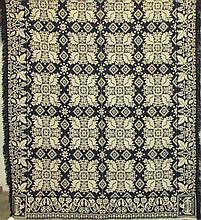 Blue & white jacquard pattern coverlet