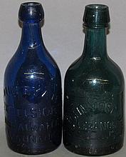 2 squat glass beer/soda bottles