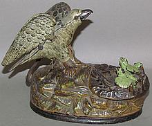 J&E; Stevens eagle & eaglets mechanical bank