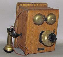 Western Electric oak case wall telephone