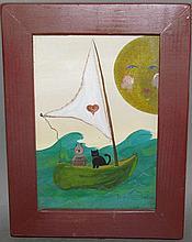 Strawser folk art watercolor painting