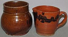 PA redware jar & creamer