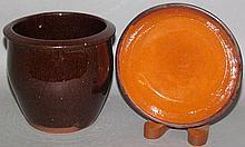Christian Link redware jelly jar & redware tart dish