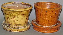 2 PA redware flower pots
