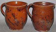 2 redware Lebanon Valley honey pots