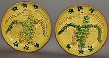 2 Breininger sgraffito decorated eagle design plates