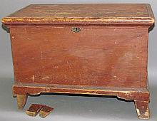 Softwood red painted miniature blanket chest
