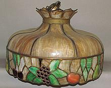 Fruit design hanging slag glass lamp