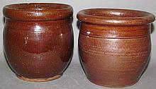 2 redware crocks