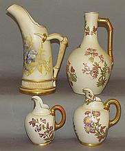 4 Worcester English porcelain pitchers