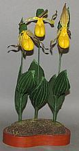 J. Shelley yellow orchids flower carving