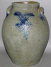 Cobalt decorated ovoid stoneware jar