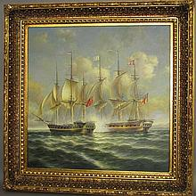 Oil on canvas ship painting