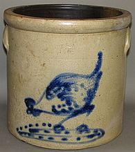 Chicken pecking corn cobalt decorated crock
