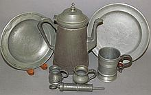 6 pewter items & tinned sheet iron coffee pot