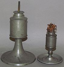 2 American pewter lamps