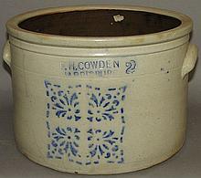 2 gallon F.H. Cowden cobalt decorated cake crock
