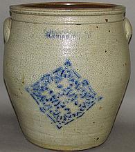 4 gallon F.H. Cowden cobalt decorated crock