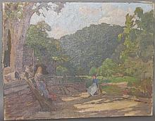 Flender mountain farm scene painting