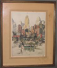 Coenties Slip, NY color etching