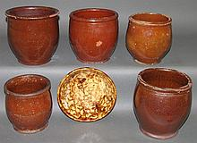 5 redware jelly jars & Rockingham glazed bowl