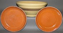 Pair of PA redware dishes & yelloware bowl