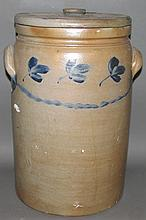 5 gallon cobalt decorated stoneware crock with lid