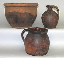 3 pieces of redware