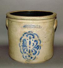 2 gallon Cowden cobalt decorated crock