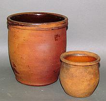2 interior glazed redware jelly jars