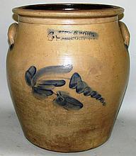 4 gallon Sipe & Sons cobalt decorated crock