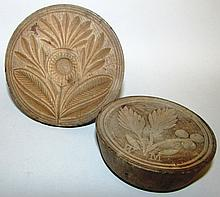 2 wooden butter stamps