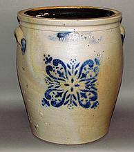 6 gallon Cowden cobalt decorated stoneware crock