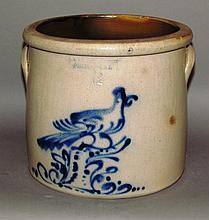 Cobalt bird decorated stoneware crock