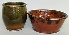 PA lead glazed bowl & jelly jar