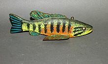 Painted softwood fish decoy