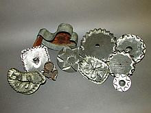 9 tin cookie cutters & maple sugar mold