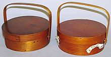 2 bentwood handle sewing boxes