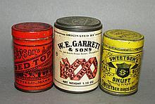 3 trade advertising snuff tins