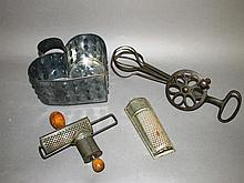 3 kitchen primitive gadgets & tin cheese mold