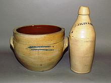 Stoneware cream pot & bottle