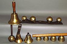 Assorted group of various brass bells