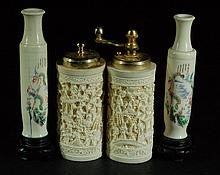 Lot of 4 Carved Bone Vases & Shakers