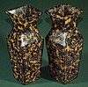 Pair of Highly Carved Tortoise Shell Vases