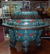 Massive Chinese Cloisonne Censer