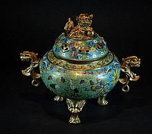 Old Chinese Cloisonne Tripod Censer