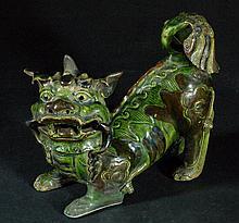 Antique Green-Glazed Foo-Lion (Qing Dynasty)